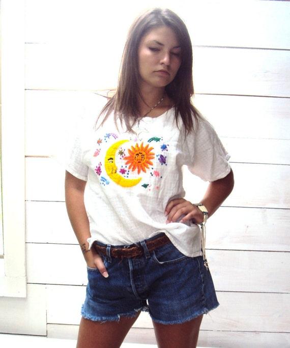 Vintage 70s gauzy top,  Embroidered, Sun Moon ZODI