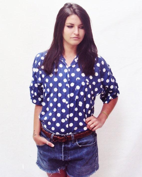 polka dot shirt / boxy shirt / short sleeve shirt / s - m
