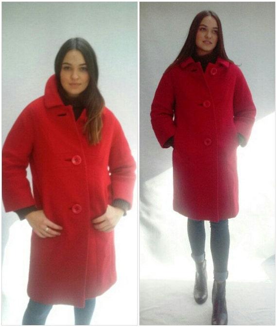 Red Wool Coat / modern minimalist coat / Parisian made / s / m