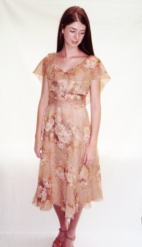 Pink Floral Chiffon Dress / garden dress / Floral dress / xs / s