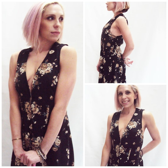 90s Dark Floral Maxi Dress / V neck / sleeveless /  s, m, l