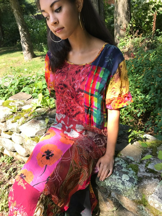 colorful TUNIC dress / asian inspired dress / s - m