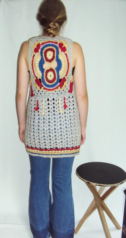 70s Crochet Sweater Vest  small, medium - image 2
