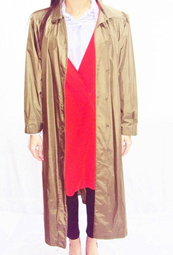 70s olive trench coat / puff sleeves / minimalist… - image 3