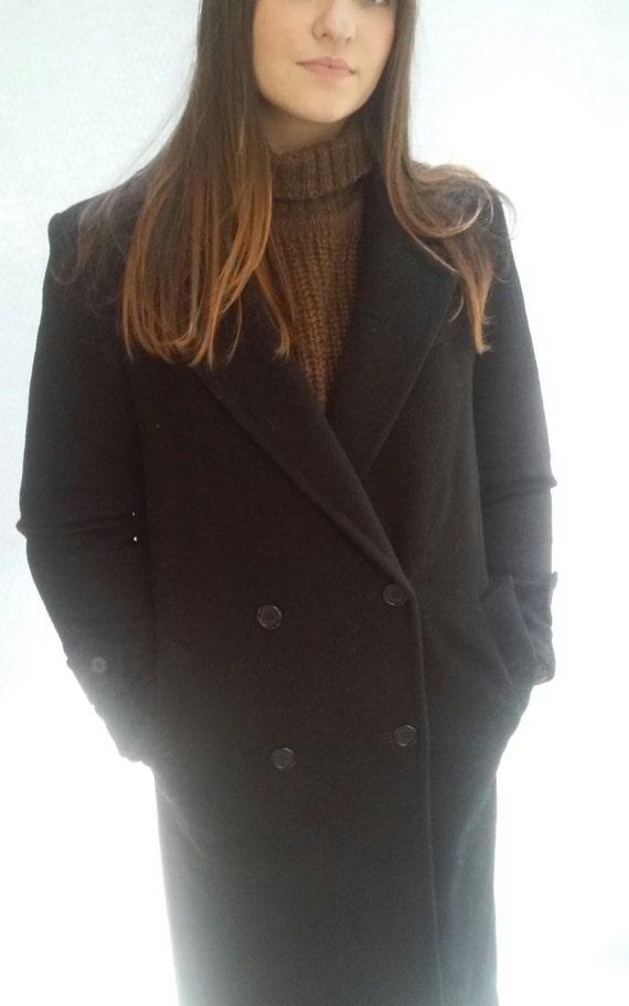 minimalist wool coat / pure wool / classic pea coat / s / m / Evan Picone