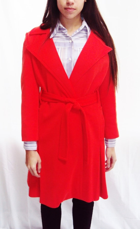 red orange 60s princess coat / woven colorblock coat / oversized collar coat / s /