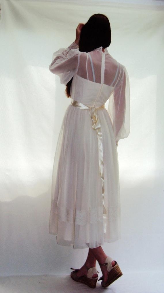 1970S BOHO White Wedding Dress/ Sheer Poet Sleeves