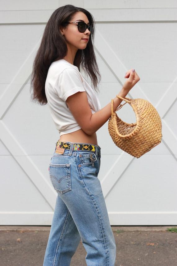 50s RATTAN purse / hard shell /