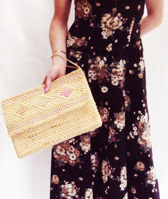 woven straw purse, CLUTCH, vintage, two tone