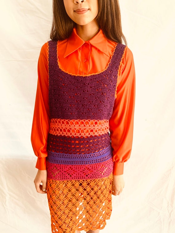 70s crochet mini dress / boho hippie dress crochet