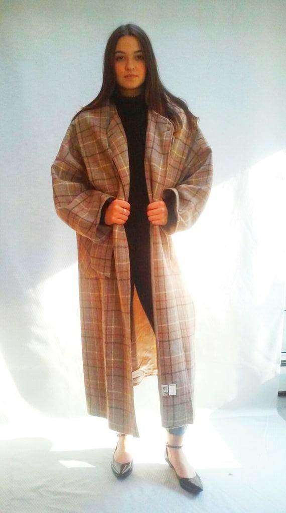 windowpane plaid coat beige / long wool overcoat / s - l