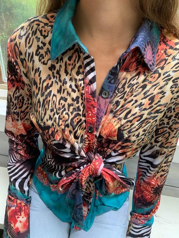 90s boho chic patchwork top / L / leopard print /