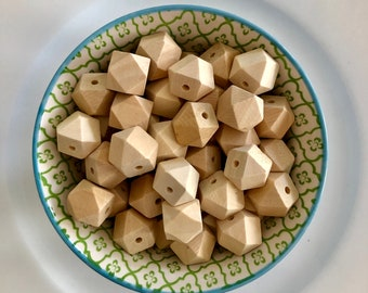 50pc Geometric Wood Beads,Natural Polyhedron Cylinder Wooden Beads 40x20mm,Wood Tube Beads,Wood Accessories,DIY Wood Crafts Jewelry Supply