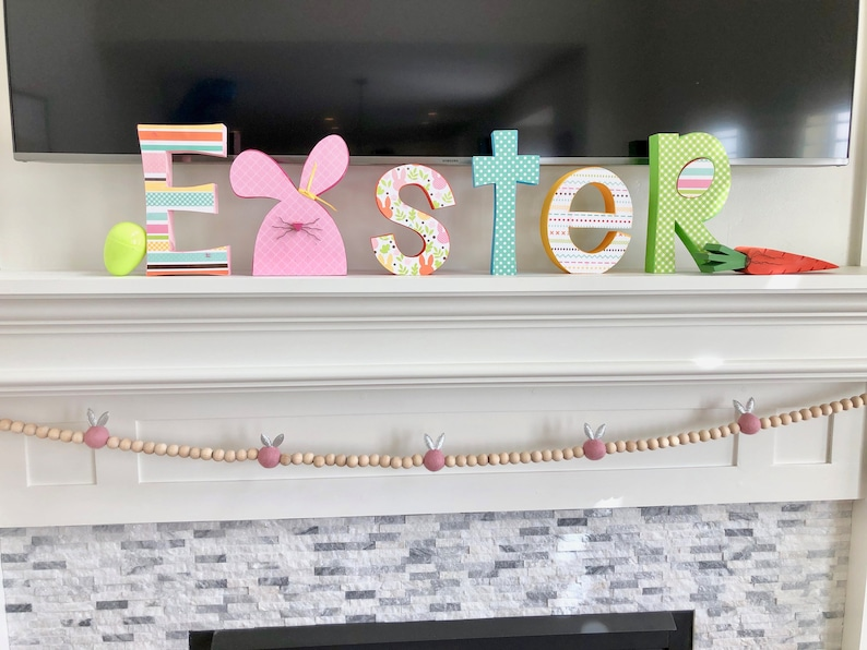 Natural wood bead with gray Bunny Easter Garland modern farmhouse holiday decor