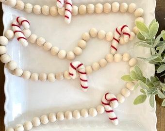 Natural wood bead garland with wool felt candy canes, Christmas tree garland, candy cane holiday decor