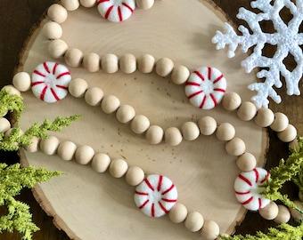 Long wood bead and felt ball garland/Christmas Garland/Tree Garland/Holiday Garland/Farmhouse Garland/Modern Garland/Boho Garland