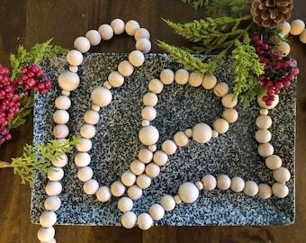 Wood bead garland, Christmas tree Garland, Holiday Garland, modern farmhouse, Modern Garland, Boho, Scandinavian, classic timeless holiday