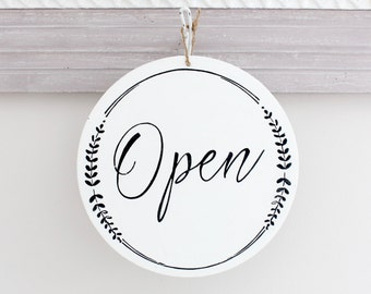 Whimsical Open and Closed Business Sign, Custom Sign, Store Sign, Window Sign, Office Sign, Wall Art, Wood Sign