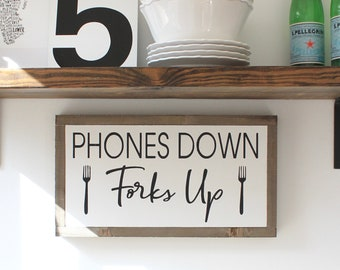 Phones Down Forks Up Framed Wood Sign, Kitchen Sign, Phone Sign, Farmhouse Style Wood Wall Art, Wood Sign