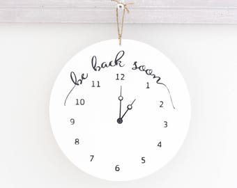Be Back Soon Clock Sign, Round Store Hour Sign, Custom Sign, Store Sign, Boutique Sign, Hanging Business Sign, Wood Sign