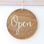 Open Closed Sign, Round Business Signage,  OpenBusiness Sign, Double Sided Custom Sign, Spa Sign, Office Sign, Wood Sign
