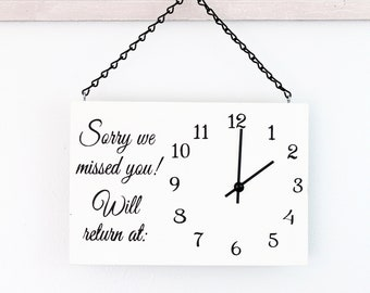 Business Sign, Will Return Clock Sign, Sorry We Missed You Store Hour Sign, Custom Sign, Store Sign, Boutique Sign, Wood Sign