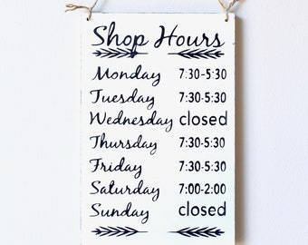 Business Hours Sign, Store Hours Sign, Wall Signs for Business, Boutique Sign, Store Hour Sign, Custom Business Sign