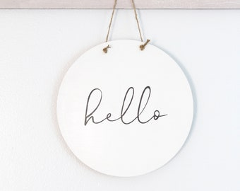 Round Modern Hello Sign, Door Sign, Greeting Sign, Wood Sign