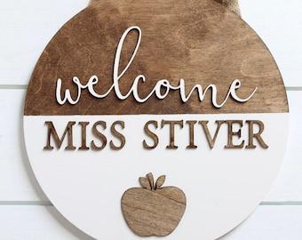 Teacher Door Sign, Welcome Sign, Teacher Gift, Classroom Hanging Door Sign, Laser Cut Sign, Custom Sign, Door Decor Sign