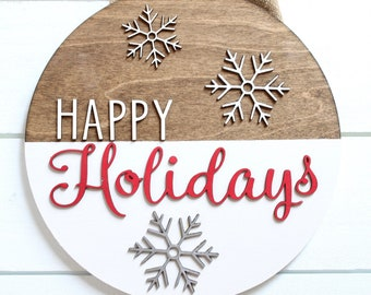 Holiday Sign, Christmas Door Sign, Happy Holidays, Christmas Wreath, Front Door Wreath, Wood Sign, Door Decor Sign