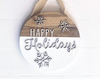 Holiday Sign, Hanging Christmas Door Sign, Happy Holidays, Christmas Wreath, Front Door Wreath, Wood Sign, Door Decor Sign