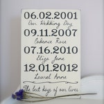 Important Date Wood Sign, 5th Anniversary Gift, Christmas Gift, Family Sign, Personalized Wedding Gift, Engagement Gift, Custom Wood Sign