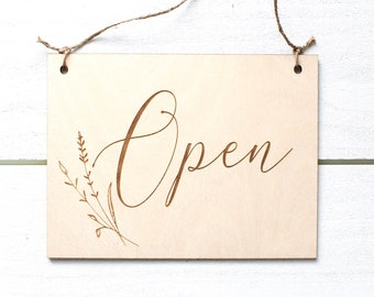 Open Closed Sign, Laser Engraved Business Sign,  Open Business Sign, Double Sided Custom Sign, Spa Sign, Wood Sign