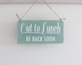 Business Sign, Office Sign, Out To Lunch Sign, Hanging Business Sign, Office Decor, Wall Art, Wood Sign