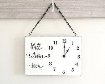 Business Sign, Will Return Clock Sign, Store Hour Sign, Custom Sign, Store Sign, Boutique Sign, Hanging Business Sign, Wood Sign