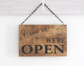 Open Business Sign, Open Closed Sign, We're Open Sign, Hanging Store Sign, Office Sign, Stained Wood Business Sign