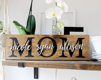 Mother's Day Gift, Family Name Wood Sign, Mom Sign, Rustic Wall Decor, 3D Sign, Christmas Gift for Mom, Custom Sign, Wood Wall Decor