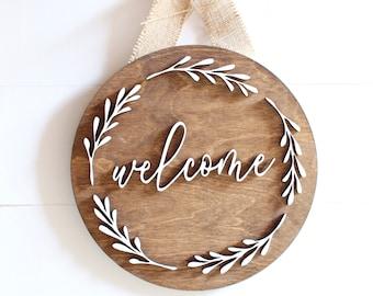 Welcome Sign, Hanging Door Sign, Custom Sign, Wall Art, Wood Sign, Door Decor Sign, Business Sign