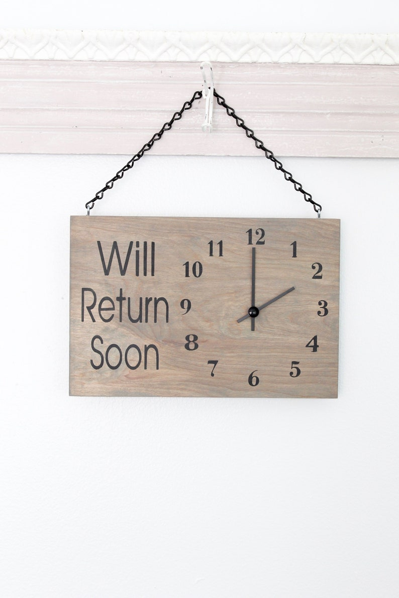 Business Sign Will Return Clock Sign Store Hour Sign Custom image 0