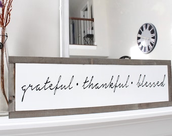 Grateful Thankful Blessed Framed Wood Sign, Christmas Gift, Farmhouse Style Wood Wall Art, Wood Sign
