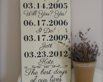 Important Date Sign, Custom Date Sign, Anniversary Date, Name and Date Sign, Personalized Wedding Gift, Family Sign, Wood Wall Art
