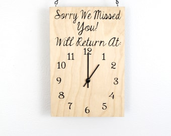 Will Return Clock Sign, Store Hour Sign, Custom Sign, Store Sign, Boutique Sign, Hanging Business Sign, Wood Sign