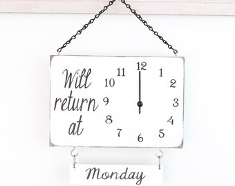 Will Return Clock Sign with Days of the Week, Business Sign, Clock Sign, Custom Sign, Store Sign, Boutique Sign, Wood Sign