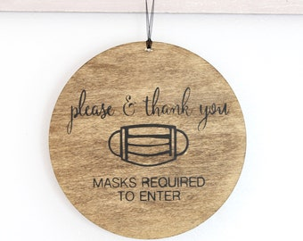 Masks Required Sign, Wear Mask Sign, Round Business Signage, Wood Business Sign