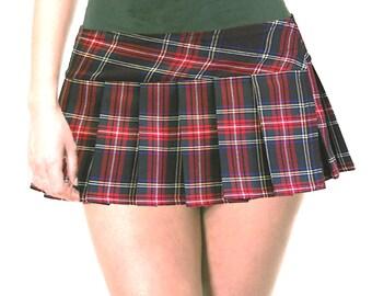 07db6d2f295 Junior to Plus Size Red and Black Schoolgirl Plaid Pleated Micro Mini Skirt  9