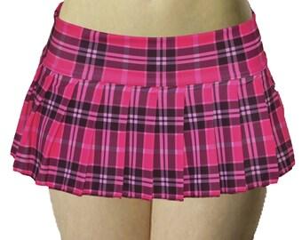 95ad26970c Hot Pink Stretch Lycra Plaid Pleated Micro Mini Skirt 9