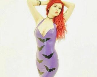 HALLOWEEN! Latex Bat Applique Halterneck Dress