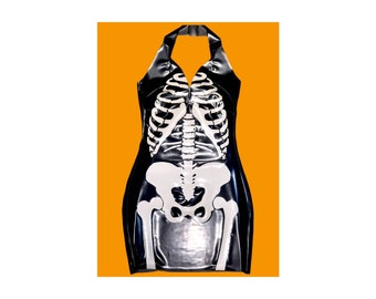 Latex Halloween Skeleton Dress
