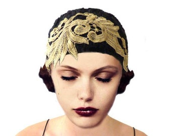 Art Deco cloche knit hat in black with gold embroidery for flapper 1920s party or gift for her