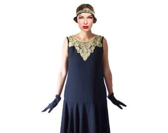 Black flapper dress chiffon gold lace robe charleston cocktail short sleeve  elegant vintage style Great Gatsby Roaring 20s 1920s   YVETTE 4fdfcfc3285ea